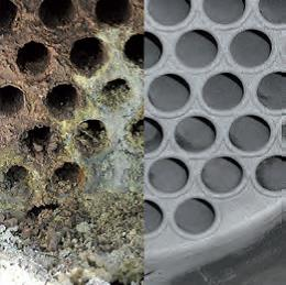 Tube bundle heat exchanger left before and right after cleaning with the TubeMaster system from mycon