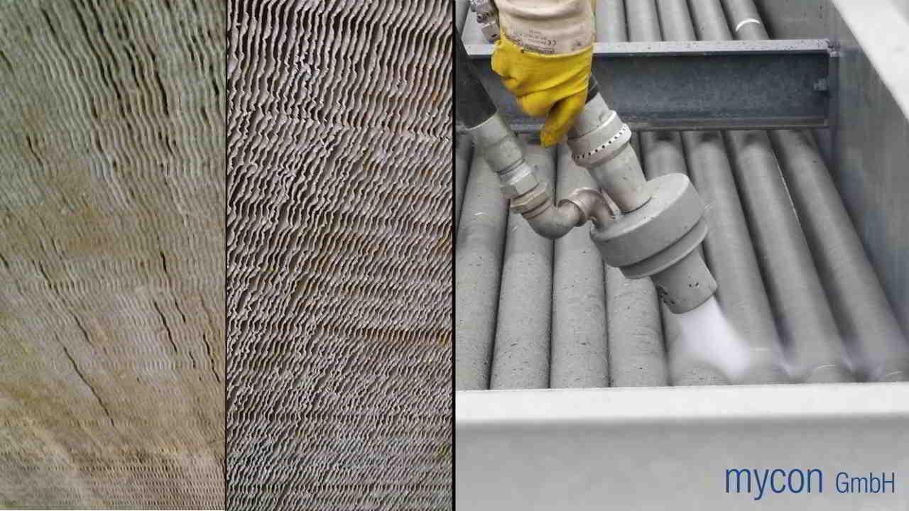 links: verkalkter Lamellenwärmetauscher vorher und nachher | rechts: Reinigung von Spiralrippenrohren eines Wärmetauschers