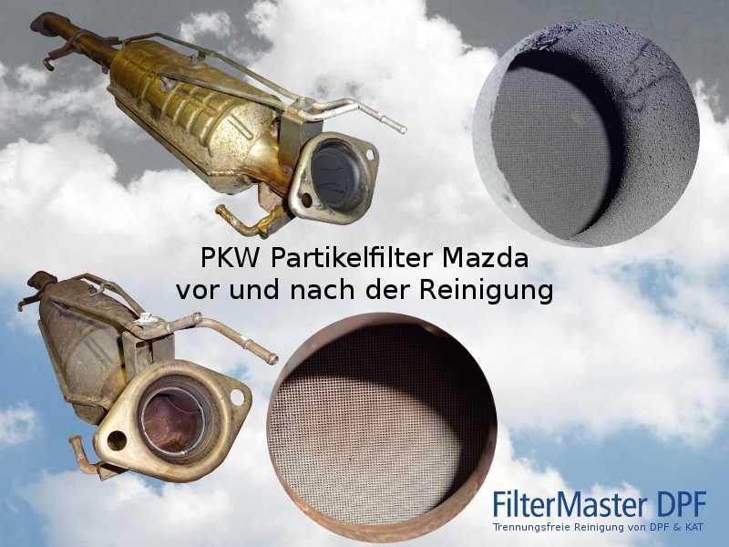 PKW Partikelfilter Mazda vor und nach der Reinigung mit FilterMaster | Außenansicht und Blick auf die Filterkeramik