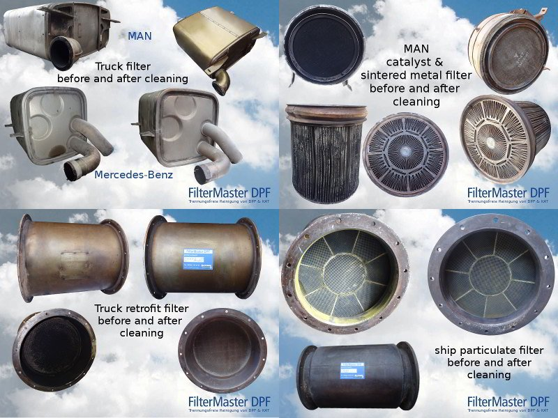 Various particulate filters before and after cleaning