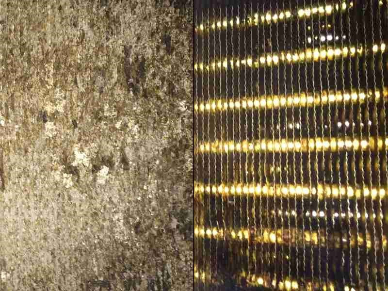 Heat exchanger in meat production before and after cleaning