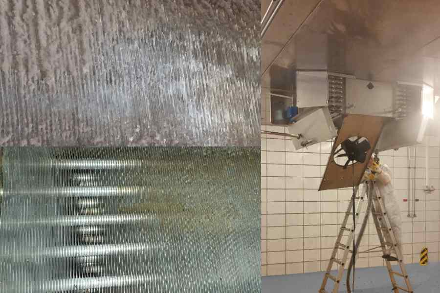 Cleaning the finned heat exchanger of a meat factory