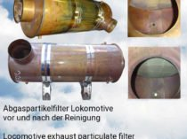 Locomotive exhaust particulate filter before and after cleaning with FilterMaster