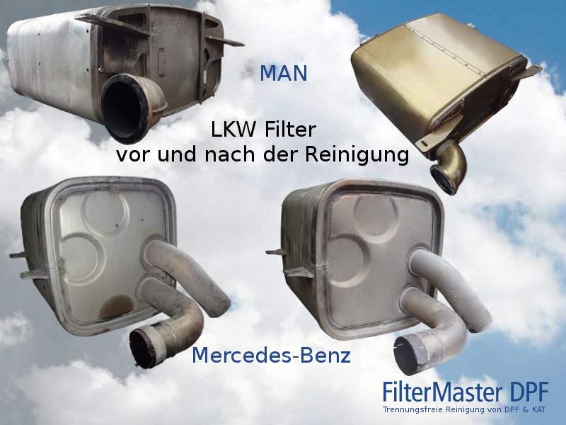 Lkw Filter vor und nach der Reinigung mit FilterMaster   oben MAN, unten Mercedes-Benz
