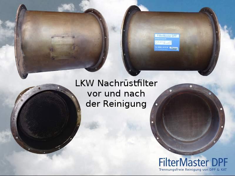 KW Nachrüstfilter vor und nach der Reinigung mit FilterMaster