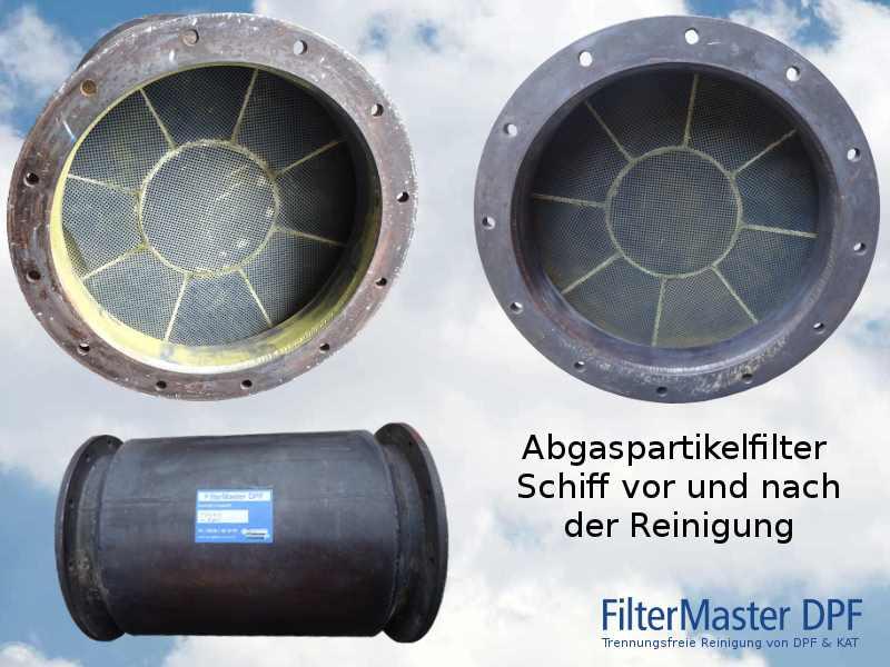 Abgaspartikelfilter eines Schiffes vor und nach der Reinigung mit FilterMaster