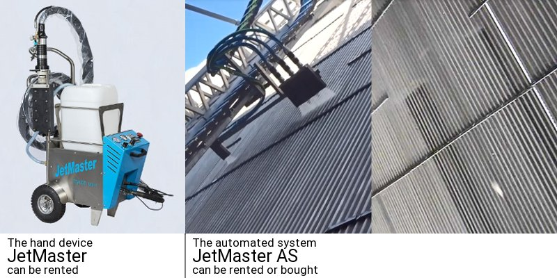 JetMaster hand device left and automated system outside and inside on the right