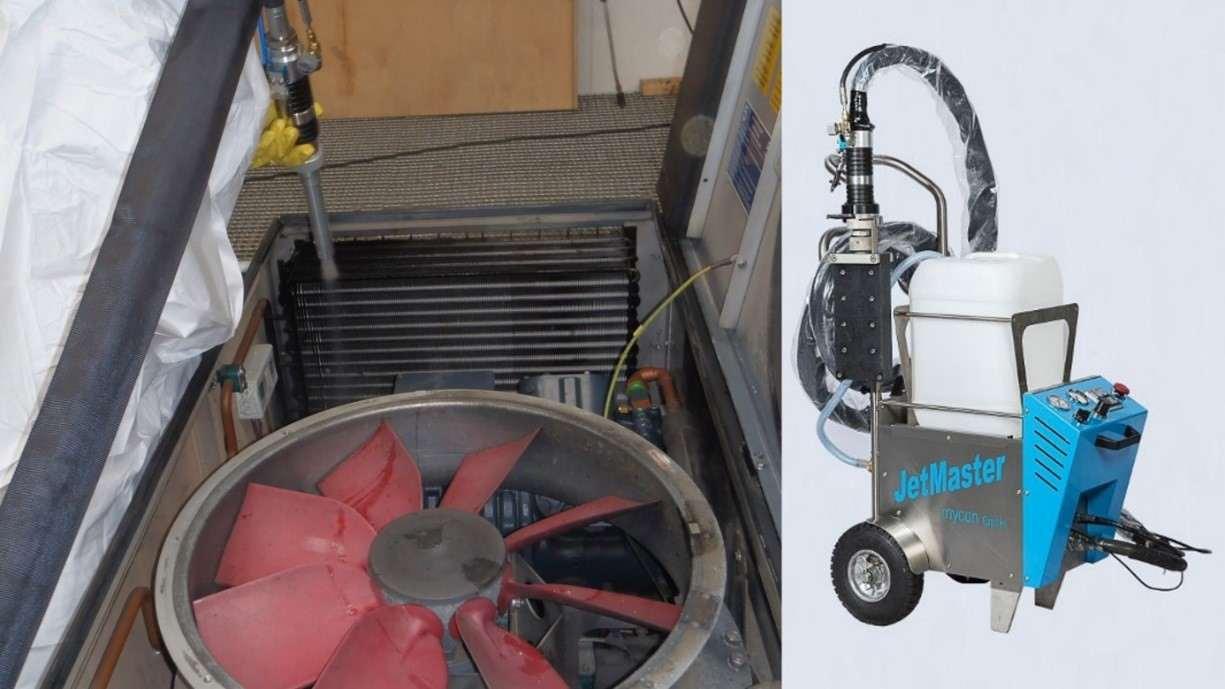 Reinigung eines Wärmetauschers auf einem Zugdach mittels JetMaster und JetMaster-Gerät