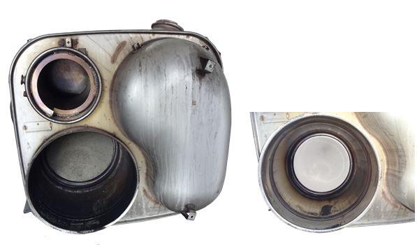 MAN TGX EURO 6 Partikelfilter vor und nach der Reinigung