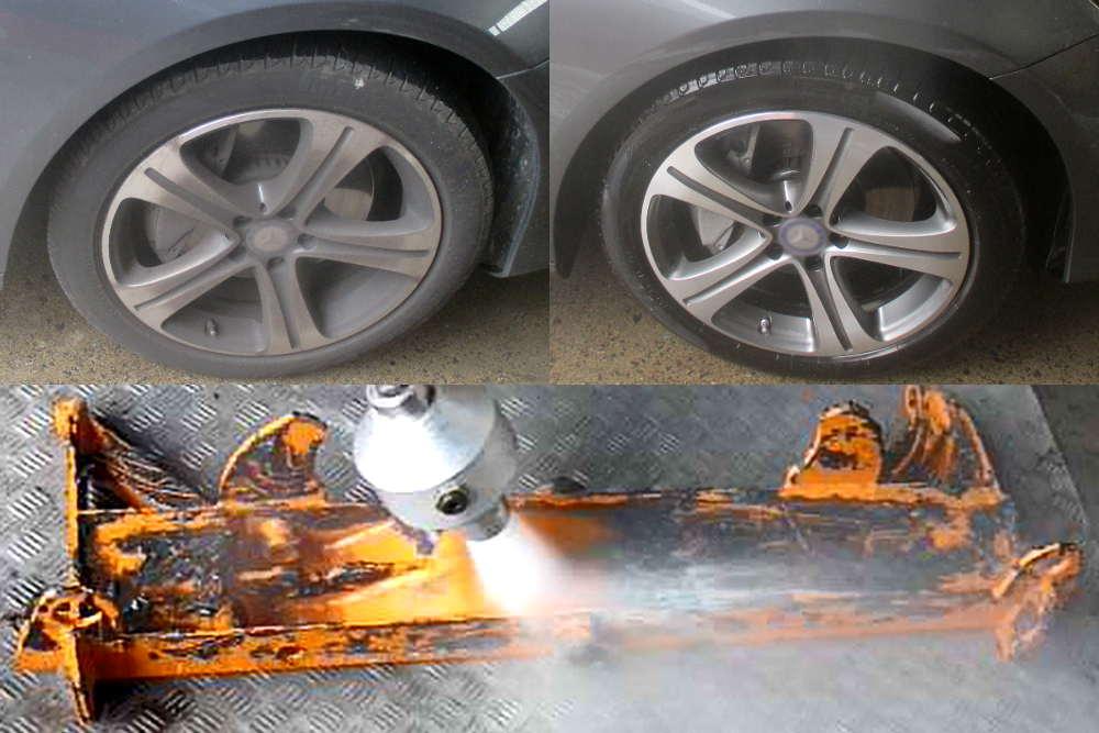 Reinigung mittels SpeedMaster – Felge vorher, nachher & Entfernung viskoser Fettschichten von lackierter Oberfläche