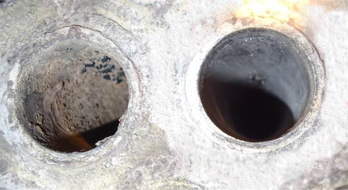 Schwefelkondensator vor und nach der Reinigung mit TubeMaster